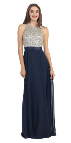 High Neckline Evening Gown Navy Blue Silver Sequin Top Chiffon Skirt