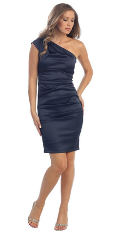 Cocktail Short Dress Navy Blue One Strap Satin Gathered Tight Fit