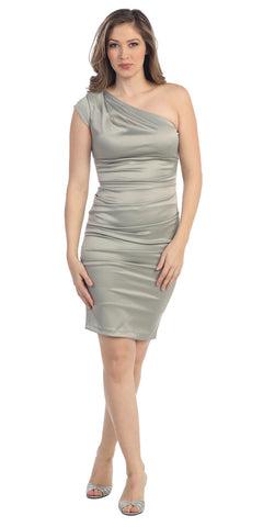 Cocktail Short Dress Silver One Strap Satin Gathered Tight Fit