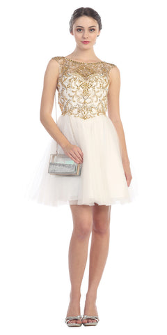 Homecoming Dress Gold Crystal Gem Beads Poofy Skirt