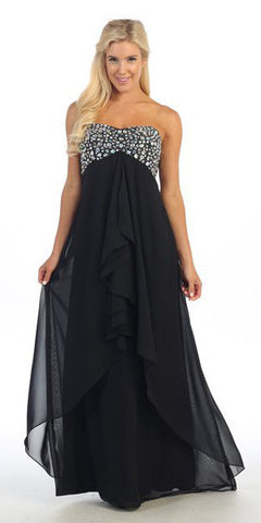 Asymmetrical Skirt Black Dress Strapless Empire Waist Rhinestone Top