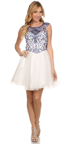 Homecoming Dress Royal Blue Crystal Gem Beads Poofy Skirt