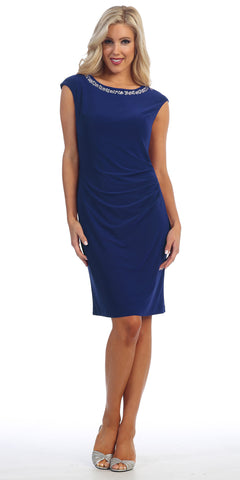ITY Jersey Knee Length Cocktail Dress Navy Blue Rhinestone Neck