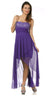 Homecoming High Low Chiffon Dress Purple Strapless Jewels Beads