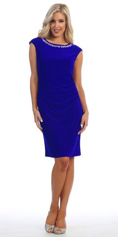 ITY Jersey Knee Length Cocktail Dress Royal Blue Rhinestone Neck