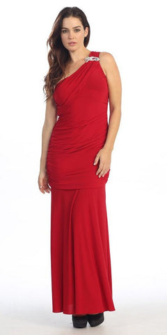 ITY Long Red One Strap Gown Semi Formal
