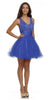 Poofy Tulle Skirt Prom Dress Royal Blue Short Tank Straps V Neck