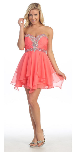 Homecoming Short Coral A Line Dress Sweetheart Rhinestone Empire
