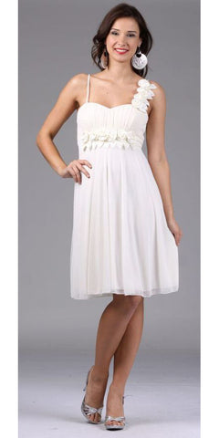 Ivory Bridesmaid Short Dress Knee Length Chiffon Flower Waist