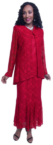 Hosanna 3583 Red Plus Size Lace Tea Length 3 Piece Dress Set