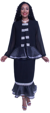 Hosanna 3602 - Black Church Choir Dress Set Tea Length