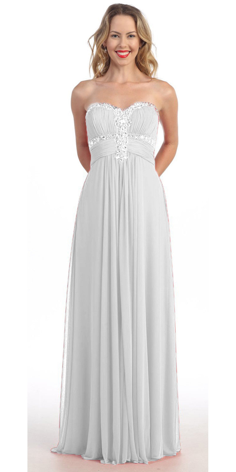 Ivory Formal Gown Chiffon Long Empire Waist Rhinestone Bodice