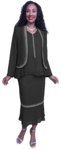 Hosanna 3662 - Black Plus Size Chiffon Dress Set Rhinestones