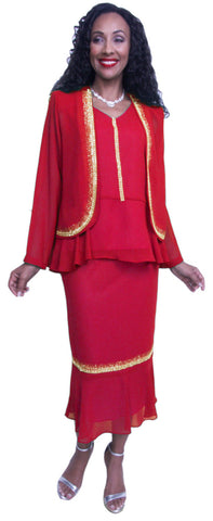 Hosanna 3662 - Red Plus Size Chiffon Dress Set Rhinestones