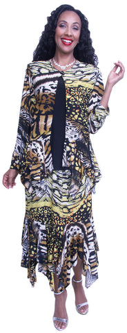 Hosanna 3675 - Plus Size Tea Length Print Dress Set