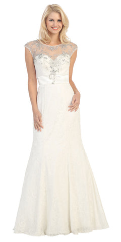 Bateau Neck Meshed Yoke Pleated Waist Off White Trumpet Dress