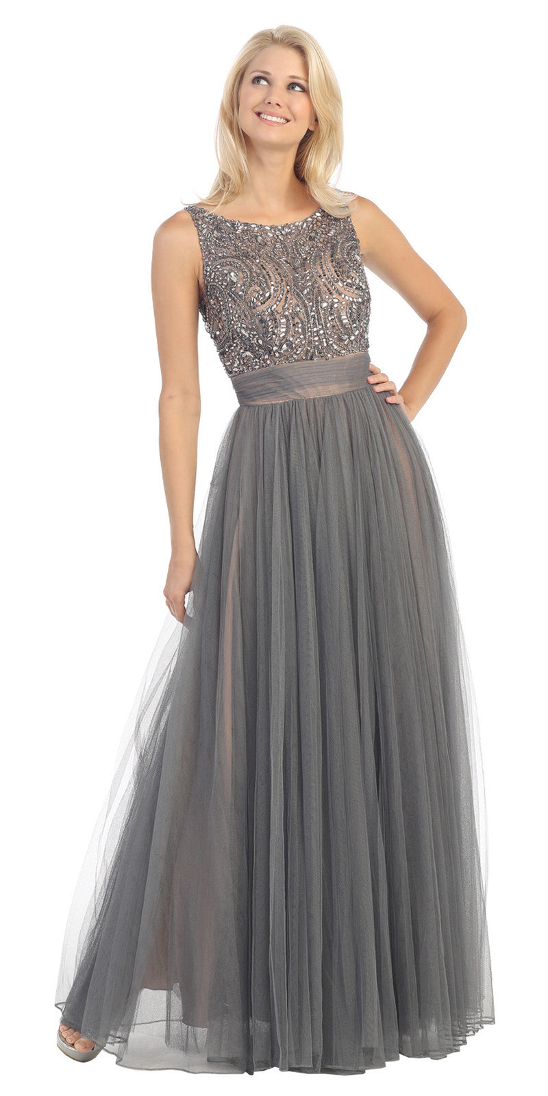 Bateau Neckline Embroidered Pleated A Line Gray Nude Dress