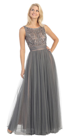 A Line Short Tulle Strapless Studded Silver Sweet 16 Dress