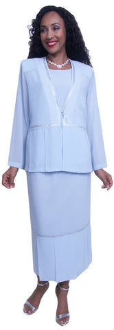 Hosanna 3692 - Church Tea Length Dress Blue Jacket