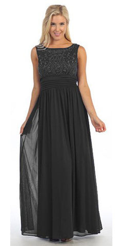 Bateau Neckline Studded Bodice Black Formal Dress