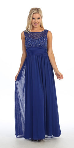 Bateau Neckline Studded Bodice Royal Blue Formal Dress