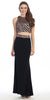 Two Piece Sequins Top Black Bronze Formal Gown Open Back