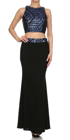 Two Piece Sequins Top Black Royal Formal Gown Open Back
