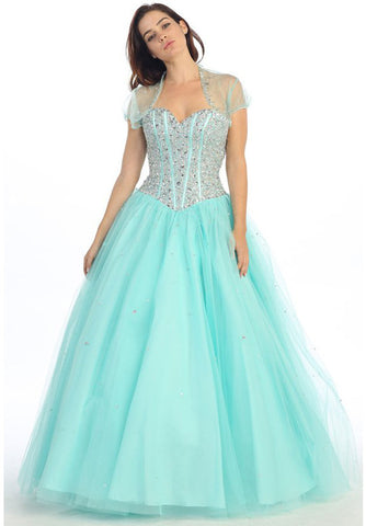 Beaded Corset Bodice Long Strapless Mint Princess Gown