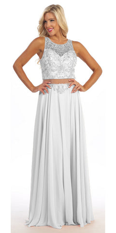 Column Ivory Formal Dress Full Length Tank Straps Beading Bodice