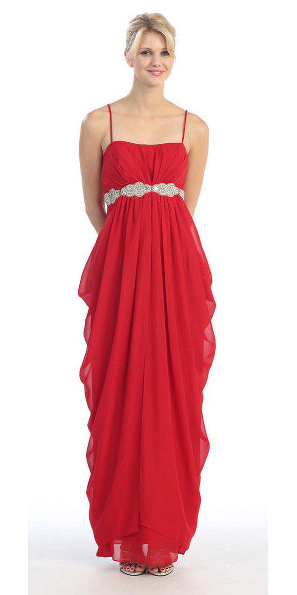 Beaded Empire Waist Red Chiffon Bridesmaid Dress