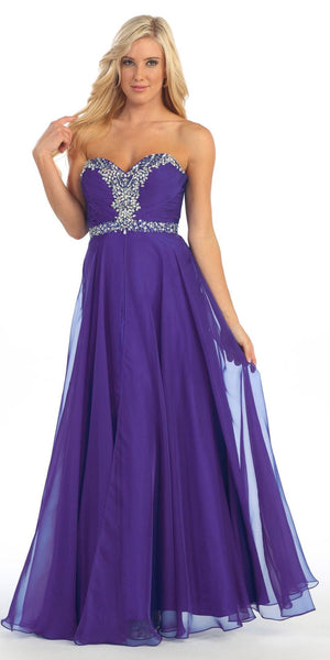 Purple A Line Prom Gown Sweetheart Neck Rhinestone Empire Waist