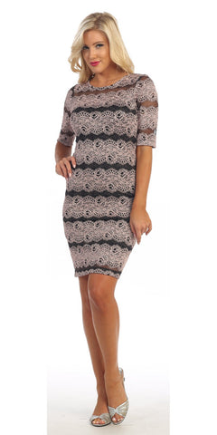 Body Con Dusty Rose Glitter Lace Dress Mid Length Sleeves Short
