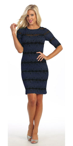 Body Con Royal Blue Glitter Lace Dress Mid Length Sleeves Short