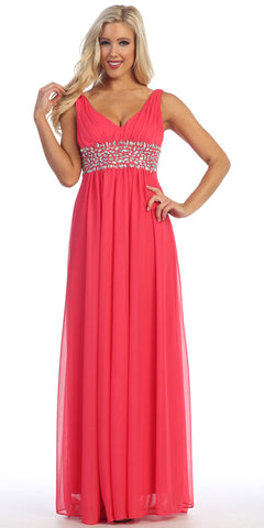 V Neck Empire Waist Dress Coral Long Chiffon A Line