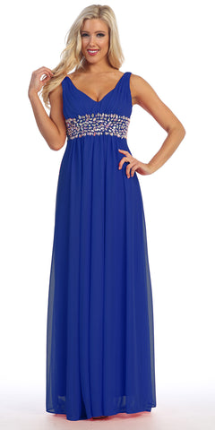 V Neck Empire Waist Dress Royal Blue Long Chiffon A Line