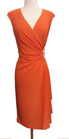 Bridesmaid Orange Dress Cap Sleeves V Neck Knee Length
