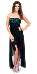 Black/Aqua High Low Semi Formal Dress Chiffon/Lace Strapless Neck