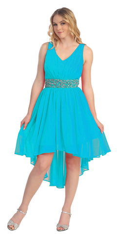 V Neckline High Low Sage Winter Formal Dress Rhinestone Empire Waist