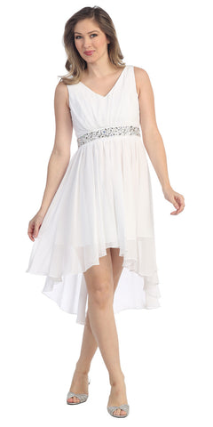 V Neckline High Low White Winter Formal Dress Rhinestone Empire Waist