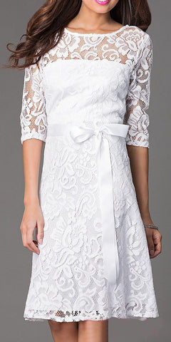 Knee Length Bateau Neck Lace White Dinner Dress