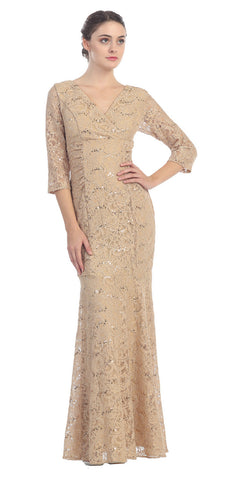 V Neckline Lace Mermaid Dress Gold Long V Neck 3/4 Sleeves