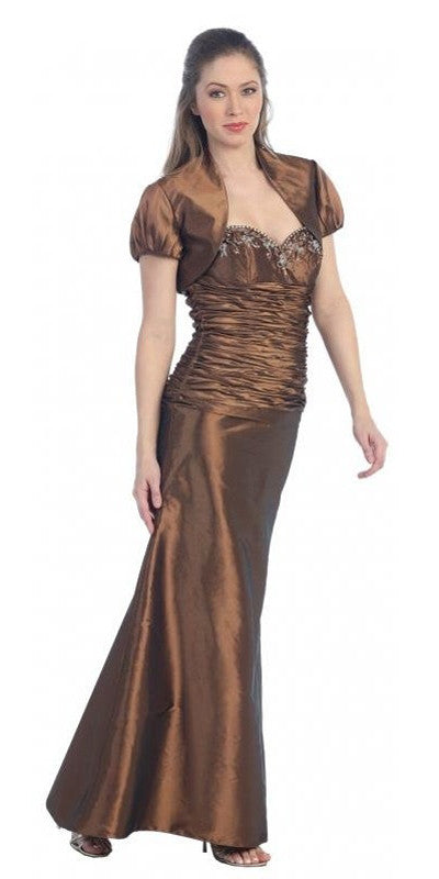 ON SPECIAL - LIMITED STOCK - Brown Formal Dress Long Formal Fancy Sweetheart Ruch Gathered Tight