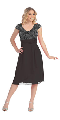 Knee Length Black Lace/Chiffon Dress Short Bridesmaid Cap Sleeves