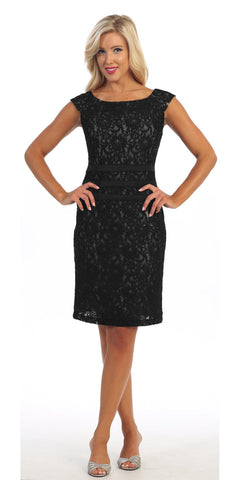 Knee Length Black Nude Lace Dress Cap Sleeves Bateau Neckline
