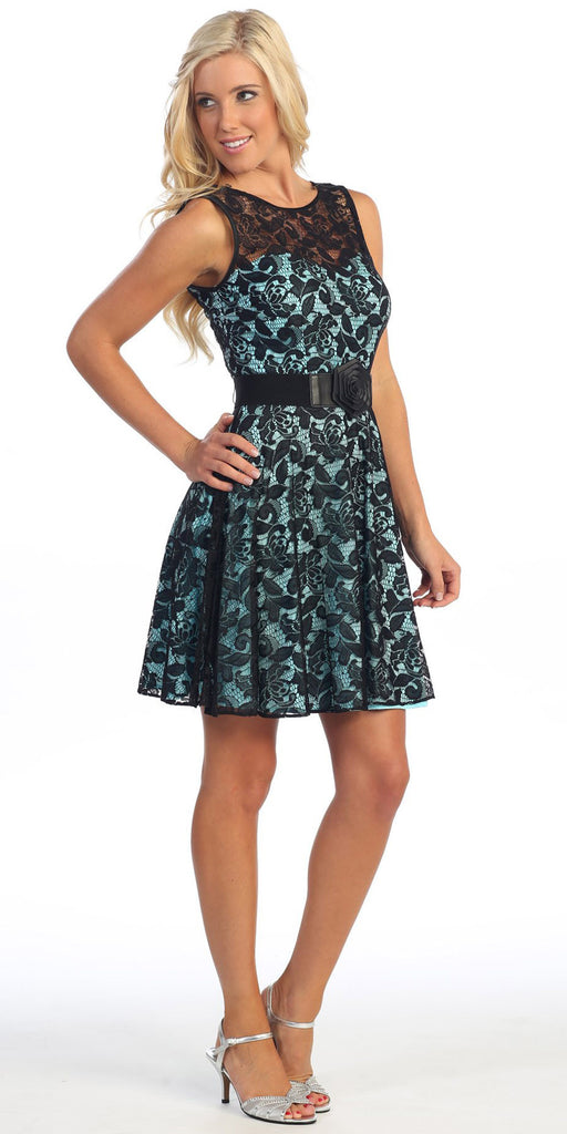 Vintage Aqua Black Lace Dress Overlay Sleeveless Short Black Belt
