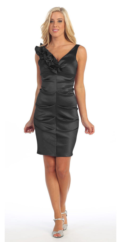 Black Cocktail Dress Taffeta Short Tight Fit Flower Strap V Neck