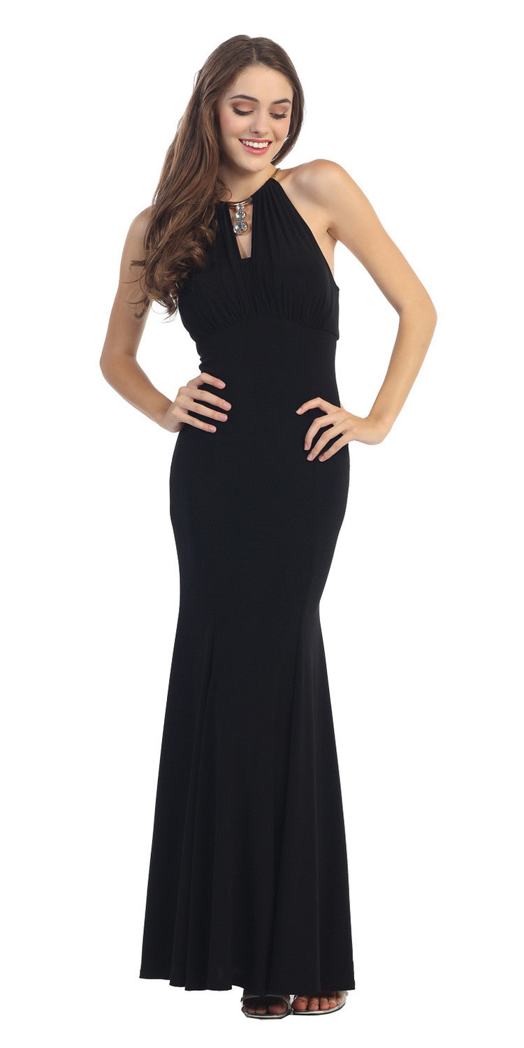 Sexy Mermaid Sheath Dress Black Stetch ITY Keyhole Bodice