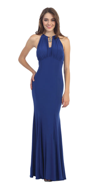 Sexy Mermaid Sheath Dress Royal Blue Stetch ITY Keyhole Bodice
