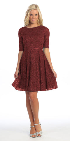 Vintage Bridesdmaid Burgundy Lace Dress Short Removable Belt Mid Sleeves