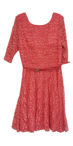 Vintage Bridesdmaid Coral Lace Dress Short Removable Belt Mid Sleeves